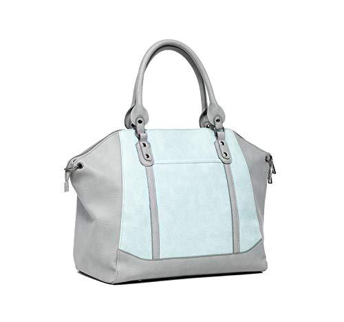 Baby Sense Mom & Baby Diaper Bag/Handbag | Fashion + Function Purse & Tote Bag | Large Capacity & Lightweight, Change Mat, Stroller Strap, Waterproof Bottle/Travel Organizer (Blue & Grey (Charmaine))
