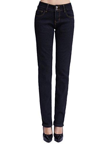 Camii Mia Damen Jeanshose Fleece Gefüttert Slim Fit Dicke Winter Thermohose Low Rise Jeans (W32 x L30, Black)