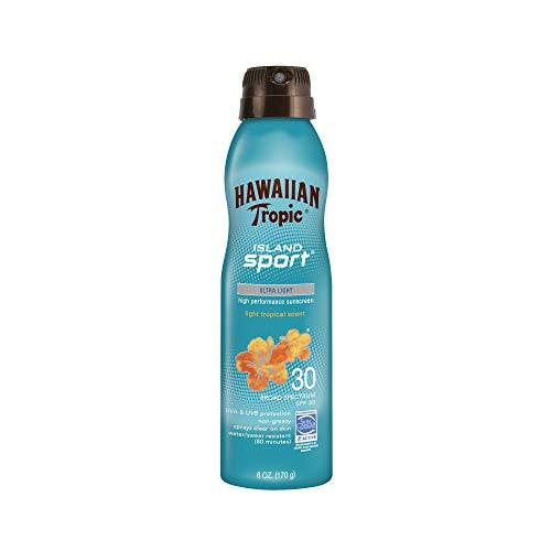Hawaiian Tropic Island Sport Sunscreen Spray, Easy to Apply, Broad-Spectrum Protection, SPF 30, 6 Ounces (8989), Clear, Coconut