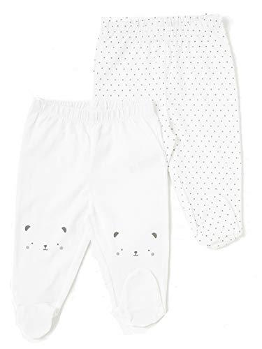 TEX - Pack 2 Leggings para Recién Nacido Unisex Bio, Blanco Primario, 00 a 0 Meses (Prematuro - 46 cm)