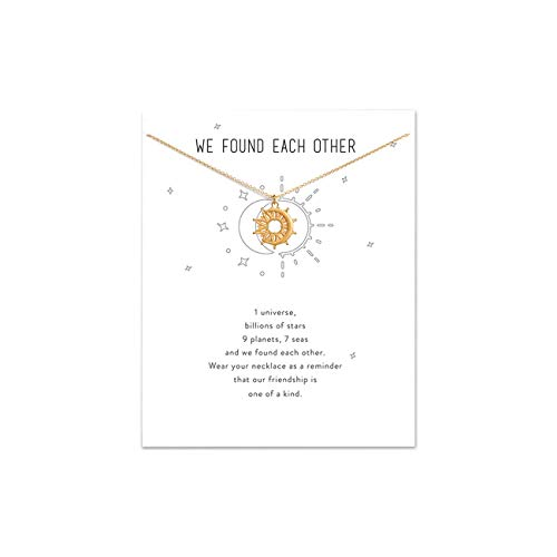 LANG XUAN Friendship Pearl Necklace Lucky Elephant Star Pearl Circle Pendant Necklace for Women Gift Card (Gold, 20)