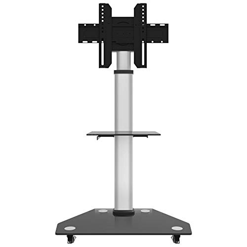 dehong Stainless Steel Tripod TV Floor Stand for 30—80 Inches TVs,Silver Free Standing TV Floor Stand on Wheels Castors Up to 58KG Tilting Height Adjustable,Max VESA 600x400mm