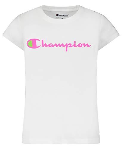 Champion Girls Heritage Short Sleeve Script Logo Tee Shirt Big and Little Girls (X-Large, White Script)