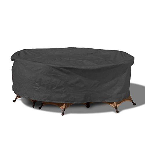 Cubierta para Set de Mesa Y Sillas de Jardín Redonda/Circular Fundas para Mesas de Terraza Impermeable 210D Oxford Tela Fundas Redondas para Muebles de Jardin Negro (Size : Diameter 200*High 94cm)