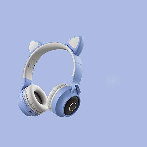 SANLAIHGJY Auriculares inalámbricos con Bluetooth, Dibujos Animados, Orejas de Gato, Bajos, Diadema con cancelación de Ruido, Auriculares Bluetooth 5,0 con micrófono, Regalo para niñas