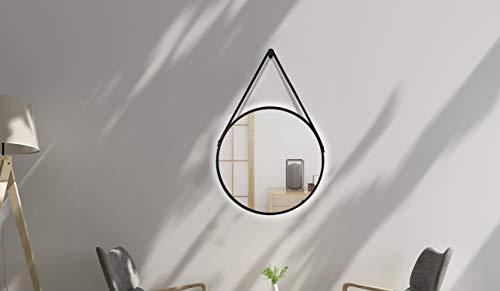 Talos Dekorative Wandspiegel, schwarz matt, Ø 50 cm