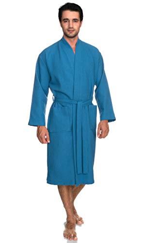 TowelSelections Men's Robe, Kimono Waffle Spa Bathrobe Large/X-Large Mediterranean Blue