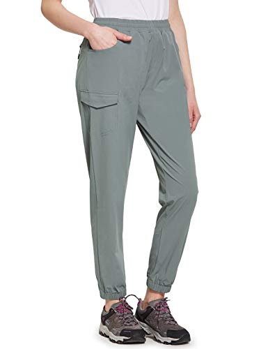 BALEAF Women's UPF 50+ Hiking Pants Athletic Joggers Lightweight Quick Dry Running Pants Light Gray L