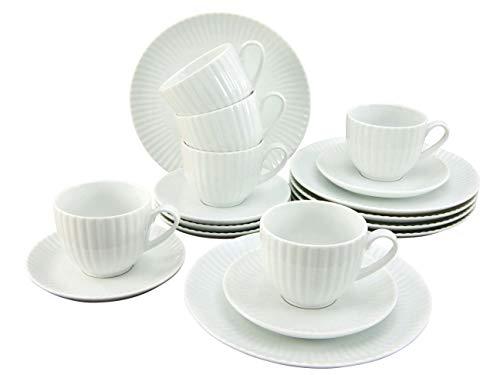 Creatable, 20245, Serie ALLEGRA weiß, Geschirrset Kaffeeservice teilig, Kaffeservice, 18-tlg, Porzellan