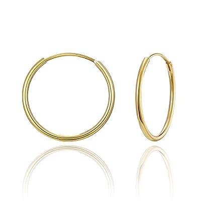 SWEETV Hoop Earrings for Women Hypoallergenic Sterling Silver Earrings 20MM Huggie Hoop Earrings Gold