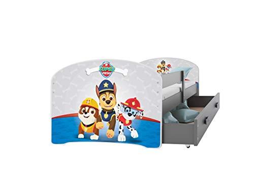 Kinderbett LUKI PAW Patrol 160x80cm 3. Farbe mit Schublade oder mit Schiebetüren (grau + graue Schublade)