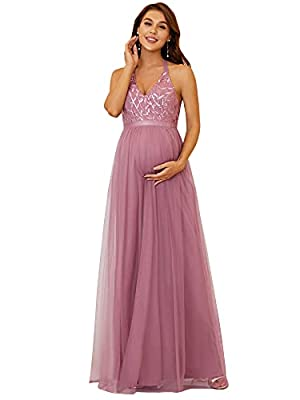 Ever-Pretty Womens Tulle A-line V-Neck Wedding Maternity Bridesmaid Dresses Orchid US10