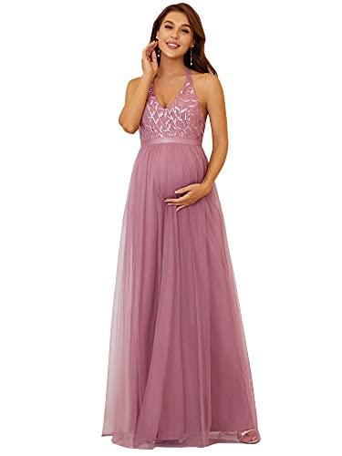 Ever-Pretty Vestido de Fiesta para Mujer Embarazada Largo A-línea Fotográficas de Maternidad Escote Halter Brillante Orquídea 46