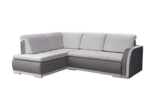 mb-moebel Ecksofa Sofa Eckcouch Couch mit Schlaffunktion und Bettkasten Ottomane L-Form Schlafsofa Bettsofa Polstergarnitur - VERO II (Ecksofa Links, Grau)
