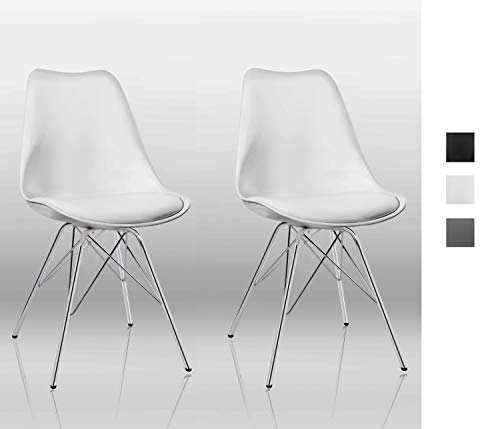 Duhome Esszimmerstuhl 2er Set Küchenstuhl Kunststoff mit Sitzkissen Stuhl Vintage Design Retro Farbauswahl 518J, Farbe:Weiss, Material:Kunstleder
