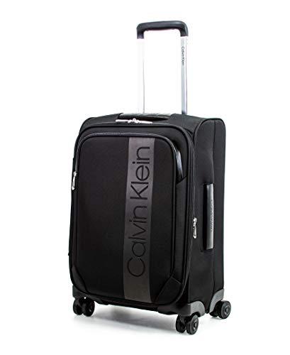 Calvin Klein Park Lane Expandable Softside Spinner Luggage, Black, 20 Inch