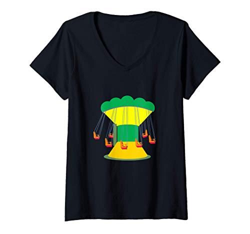 Mujer Paseo en el columpio del carnaval Camiseta Cuello V
