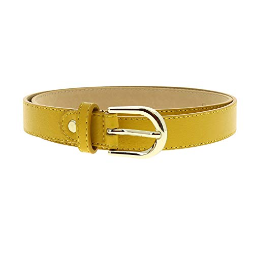 Cinturón de piel amarillo para mujer