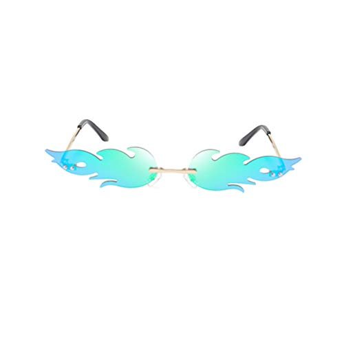 STOBOK Partybrille Flamme Sonnenbrille Rahmenlos Neuheit Brille Grün Foto Prop Mode Party Spielzeug Kinder Erwaschener Frauen Damen Kostüm Zubehör Foto Requisiten