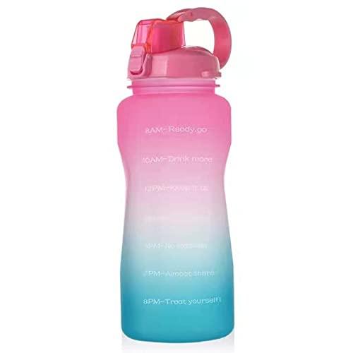 QAZW Botella de Agua Grande de 3800 Ml / 2000 Ml, con Marcador de Tiempo, Tritan, Sin BPA, No Tóxico, para Deportes Al Aire Libre y en La Oficina,Pink/Green-3.8L