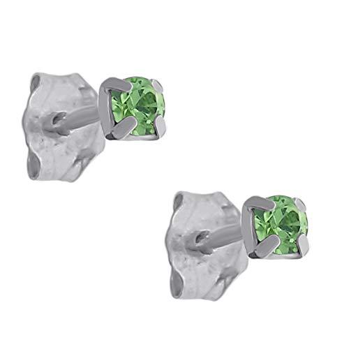 Pendientes de plata 925 y cristal verde de 2,5 mm, unisex