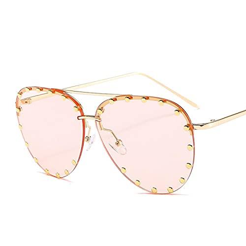 HAOMAO Vintage personalidad metal remache espejo gradiente piloto gafas de sol para mujeres y hombres de gran tamaño Uv400 gafas sombras champán