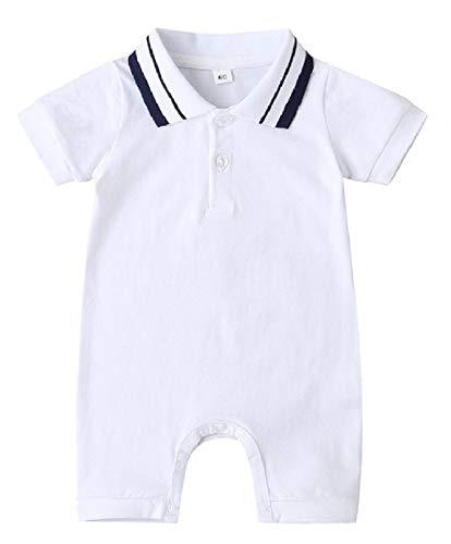 F's MAUMU ベビー服 男の子 女の子 半袖 Tシャツ 無地 ポロシャツ ショートオール ベビー 赤ちゃん 足つき ロンパース つなぎ ズボン ショートパンツ 4色 (ホワイト, 60)