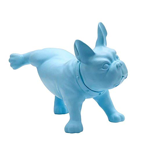 Sculpture Statuette Pe Plastic Bulldog Sculpture Abstract Puppy Statue (Peeing - Blue) French Bulldog Animal Figurine Artwork for Office Living Room Decoration