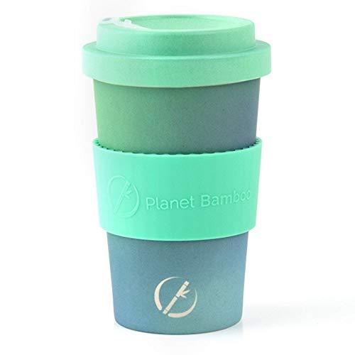 Planet Bamboo | nachhaltiger Kaffeebecher | Coffee-to-Go-Becher aus Bambus mit Bambusdeckel | lebensmittelecht | spülmaschinenfest | 355 ml | inkl. kostenloser Filz Manschette (Space Cake)