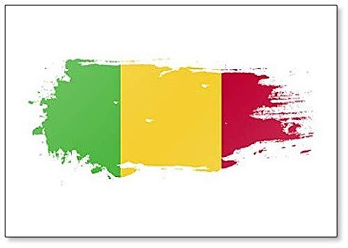 Kühlschrankmagnet Mali Flagge Grunge Brush Stroke Illustration