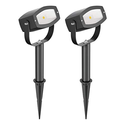 parlat LED foco de jardín Vela con pica de tierra y 15cm zócalo para el exterior, IP65, 9W, 700lm, blanca cálida, 2 UDS