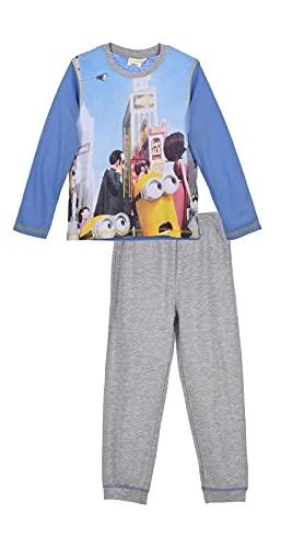 Les Minions - Pijama largo para niño, color azul y gris de 3 a 8 años azul 6 años