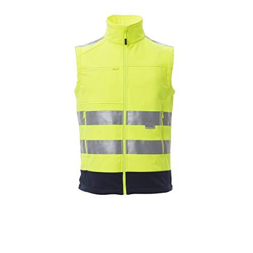 PAYPER Traffic Gilet Softshell Alta visibilità Uomo da Lavoro 100% Poliestere Chiusura Zip Bande Riflettenti Tasca al Petto Porta Badge Giallo Fluo/Blu Navy (S)