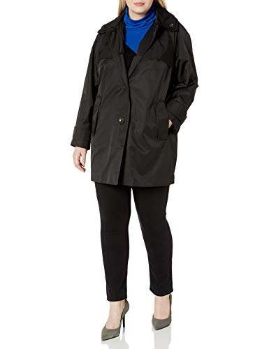 LONDON FOG Women's Plus Size Button Front Topper Jacket, Black, 1X