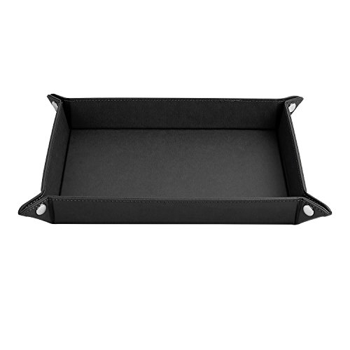 ONLVAN Jewelry Leather Valet Tray for Men Travel Valet Tray(12.8'×10.6'- Black)