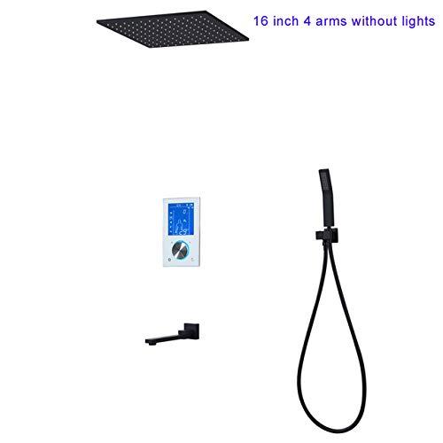 SHIJING thermostaat 16 inch douchesysteem LCD-touchscreen digitaal display zwart grote doucheset 180 graden draaien onderste kraan