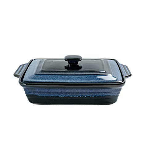 Rectangular Casserole Dish with Lid, UNICASA 3.2qt Ceramic Covered Casserole, Reactive Glaze Space Blue, 9x13 Baking Dish for Cooking, Lasagna Pan Set Oven Safe