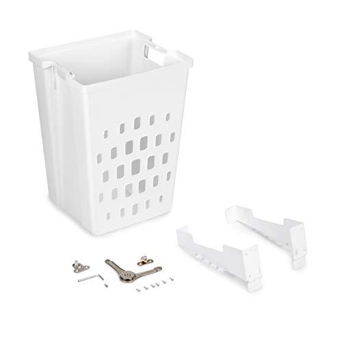 Emuca - Cesto de lavandería para módulo de 450 mm, Cesto ropa sucia mueble extraible, Plástico blanco