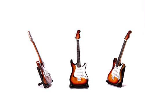 Miniatur E-Gitarre XS in versch. Farben Elektro Mini Deko Gitarre aus Holz 22cm (Farbe wählbar) (Hellbraun)