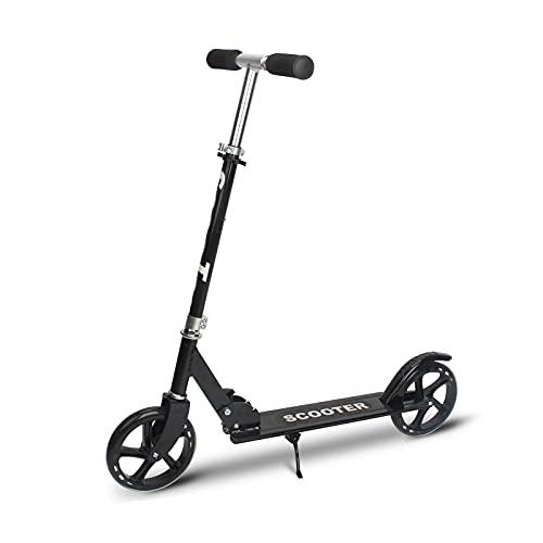 Goodvk Patinetes para Niños Scooter Infantil 10 años de Edad y Superior/Adulto Altura Ajustable para Viajar Suave desplazando Scooter portátil Feliz Juego (Color : Black, Size : 90x11x100 cm)