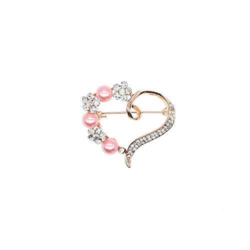 TULIP LY Broche de corazón para mujer, diseño de corazón con perlas y cristales transparentes