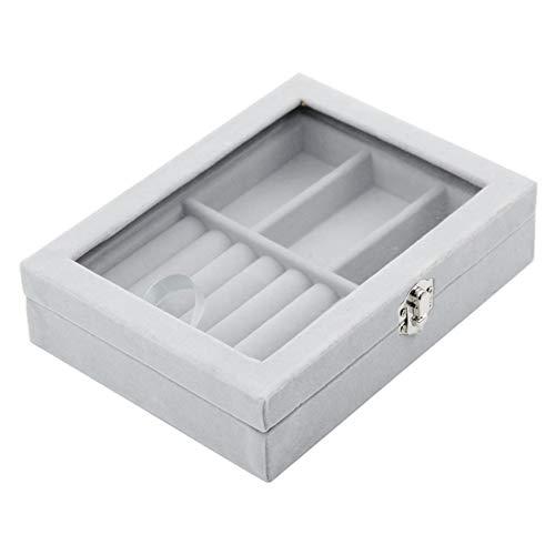 pinghub Porta Anillos Bandeja Multifunción Caja de joyería De la Caja de Almacenamiento DaWanda Joyas y bisutería de Vidrio bisutería con Cajas