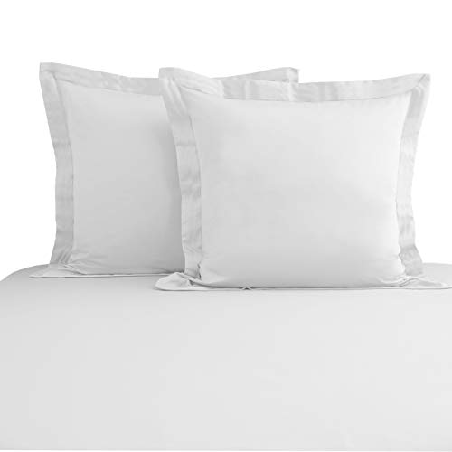 Pizuna 400 Fils Au Pouce Carré Coton Taie Oreiller 65x65 Lot De 2 Blanc, 100% Coton À Fibres Longues Luxueuse Housse d'oreiller en Satin Doux pour Le Lit, Le Canapé Et Le Canapé