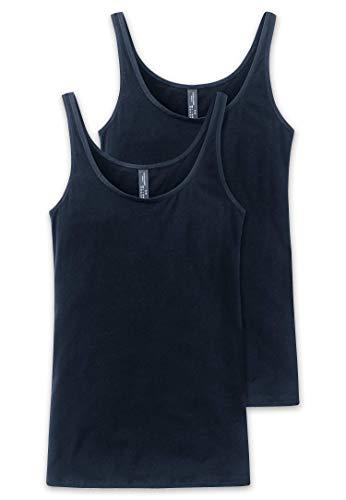 Schiesser Damen Unterhemd Trägertop, 2er Pack, Blau (Nachtblau 804), 38