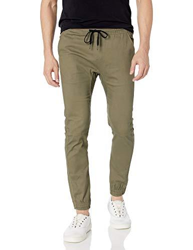 BROOKLYN ATHLETICS Herren Twill Jogger Pants Soft Stretch Slim Fit Trousers Jogginghose, olivgrün, X-Groß