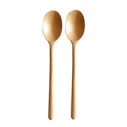Paquete de 2 cucharas largas de madera, cucharas de sopa par