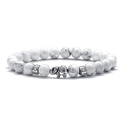 M MOOHAM Gifts for Women Elephant Bracelet - 8mm Natural White Howlite Bracelets for Women Men Stress Relief Yoga Bracelet Anxiety Healing Bead Bracelets for Women Elephant Gifts for Women Girls