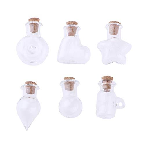 F Fityle Frascos de Vidrio en Miniatura para Casa de Muñecas de 6 Piezas con Tapones de Corcho Botellas de Deseos Botellas de La Suerte para Escala 1/12