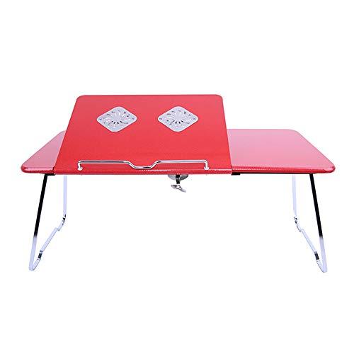 Exing Laptop-Schreibtisch-Höhen-Winkel-justierbares im Freien faltendes Tabl mit Kühlkörper-tragbarer Grill-Tabellen-Studenten-faulen Tisch-Bett-Klapptisch (Farbe : Rot, Größe : 58+28 * 26cm)