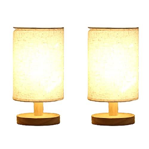 ZQWE Lámpara Mesilla Noche, Lampara de Noche Regulable USB, Pantalla de Lino Lámpara Escritorio Vintage, Moderna Lámpara de Mesa para Dormitorio, Salón, (1,2 Pcs)